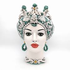 Caltagirone Sicilian ceramic <b>head Lady Green</b> 42 cm