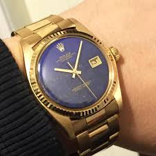 daydate ref 1803 wood dial big blue and rolex 1601 datejust yg18k lapis lazuli dial