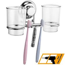 MaxHold No-Drilling/Suction <b>Cup</b> Double Toothbrush <b>Tumbler</b> ...