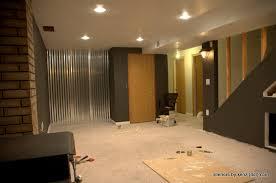 basement wall ideas corrugated paneling basement office ideas