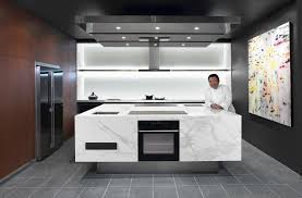 nice design ideas of ready made kitchen cabinets with black color and combine white marble island nice types kitchen