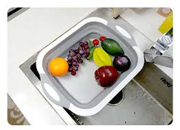 Kitchen Chopping Block <b>Foldable</b> Cutting Board with Colanders ...