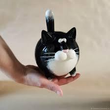 <b>Фигурка кот</b>. Кошарик <b>чёрный</b> с белой грудкой – купить на ...