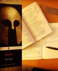 the iliad kenia sedler left cover of the the iliad book right book open showing my annotations