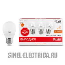 53216T <b>Лампа Gauss LED</b> Elementary Globe 6W E27 2700K 3/40 ...