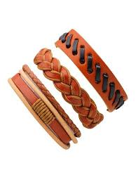 [18% OFF] 2020 <b>3 Pcs Vintage Braided</b> Leather Bracelet Male In ...
