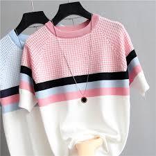 <b>shintimes</b> Plaid T Shirt Women Striped Tshirt Knitted Cotton 2019 ...