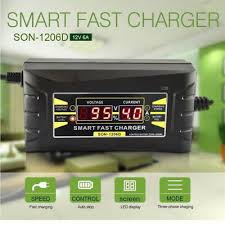 <b>12V 6A</b>/10A Smart Car Motorcycle Lead-acid Battery Charger <b>LCD</b> ...