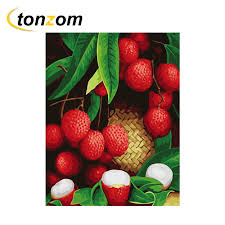 <b>RIHE</b> Fruitful Red Lichee Diy Painting By Numbers Abstract Tree ...