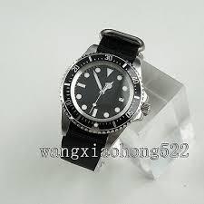 <b>42mm Parnis Black Dial</b> Sea Style luminous Nylon Strap Automatic ...