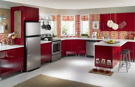 awesome modern kitchen red color ideas with l shaped kitchen cabinetry with kitchen bar ideas also modern white kitchen design architecture awesome kitchen design idea red