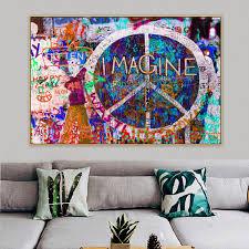 2019 <b>Peace Symbols Imagine</b> Graffiti Street Art Mural Canvas ...