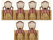 hepplewhite shield dining chairs set: set of  solid mahogany hepplewhite shield back striped dining chairs