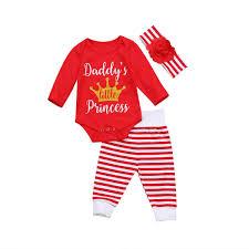<b>3Ps Newborn Baby</b> Daddy Girl Long Sleeve Romper Striped Leggi...