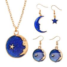 Elegant Fantasy <b>Planet</b> Star Moon Pendant <b>Jewelry Set</b> Korean ...