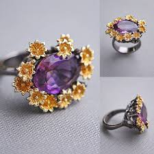 Кольцо <b>серебряное</b> с аметистом 13х18мм Кольцо с позолотой и ...