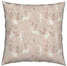 Roostery Botanical Bunnies Eco Canvas Throw Pillow ... - Amazon.com