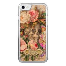 <b>Vintage Floral Skull</b> Carved Wood iPhone Case | Zazzle.com | Floral ...