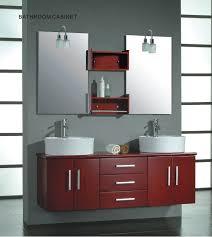 wooden double mirror door bathroom cabinet