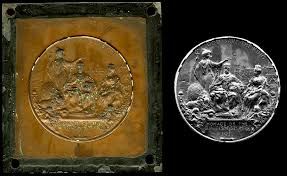 Brass <b>printing</b> plate commemorating King George V and <b>Queen</b> ...