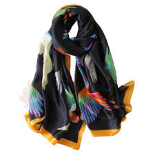 Fashion Household <b>Spring</b>/summer Scarf Bird Print <b>Thin Section</b> Silk ...