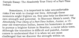 sample thematic essay absolutely true diary of a part time indian  picture