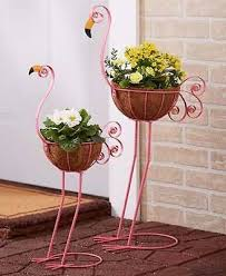 Colorful Metal Flamingo Statue <b>Planter Set Garden</b> Lawn Patio ...
