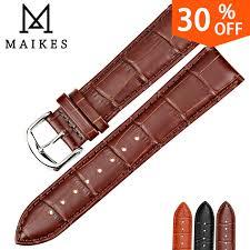 MAIKES New Watch Accessories Watch Bracelet Belt Soft <b>Genuine</b> ...
