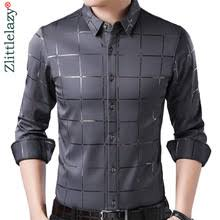 2019 brand casual spring luxury plaid <b>long sleeve</b> slim fit <b>men shirt</b> ...