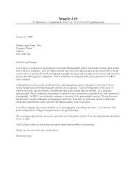 sample cover letter for photography job cover letter sample  work