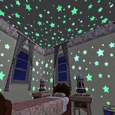 <b>100pcs 3d stars glow</b> in dark luminous tape fluorescent plastic wall ...