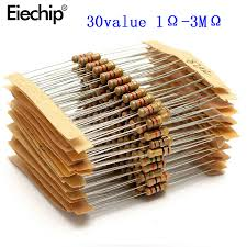 <b>300pcs</b> 30value Rang 1ohm 3M ohm 1/2W <b>Carbon</b> Film Metal ...
