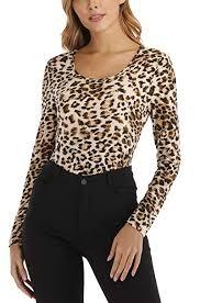Wudodo <b>Womens</b> Leopard Print <b>Tops</b> Long Sleeves Round Neck ...