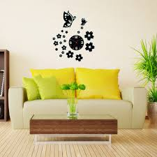 3d wall clocks unique butterfly and flowers design mirror face wall clock home office decoration needle aliexpresscom buy office decoration diy wall