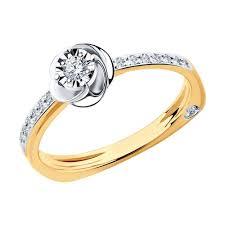 <b>Кольцо</b> из <b>комбинированного</b> золота с алмазной гранью с ...