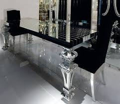dining room table mirror top: a luxury designer glass table with architectural top in reeded