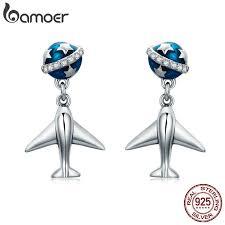 BAMOER 100% <b>925 Sterling Silver Star</b> Tours Planet & Plane Drop ...