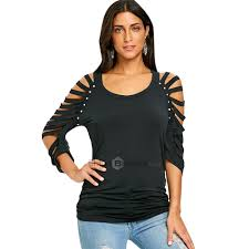 Dropshipping for Scoop Neck Ripped <b>Raglan</b> Sleeve T-shirt to sell ...