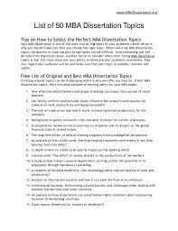 List of Best MBA Dissertation Topics MBADissertation org List of    MBA Dissertation Topics