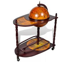 VidaXL Wood Freestanding <b>Globe Bar Wine Stand</b> With Plenty Of ...