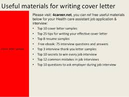 health care assistant cover letteryours sincerely mark dixon    useful materials for writing cover letter