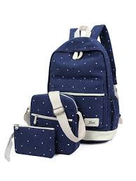 Lowestbest - Lowestbest <b>3Pcs</b>/<b>Sets School</b> Canvas <b>Backpacks</b> for ...