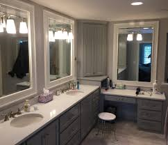 bathroom features gray shaker vanity: master bath custom cabinetry  piece drawer fronts shaker style doors gray cabinetry