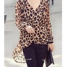 <b>Women</b> Ladies <b>Leopard</b> Print Long Sleeve <b>Chiffon Shirt</b> Slim Casual ...
