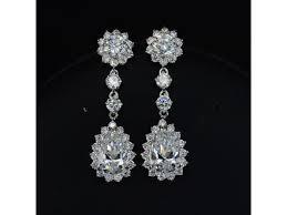 18K Gold Plated <b>AAA+ Cubic Zirconia</b> Drop Flower Earrings ...
