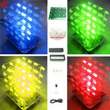 2017 New LED <b>DIY</b> KIT 3d Light cubeeds <b>Electronic DIY</b> Kit 4X4X4 ...