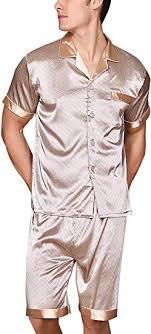 Yanqinger Mens <b>Luxury Silk</b> Nightwear Pajama Set <b>Short</b> Sleeve ...
