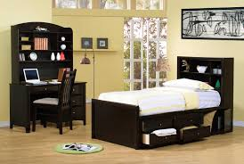 contemporary small kids bedroom design featuring dark brown varnished mahogany twin size bed which has storage biege study twin kids study room