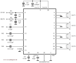 tda  x  w quad audio amplifier   schematic designtda     x  w quad bridge amplifier