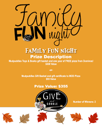 prize drawing ticket for family fun night value 355